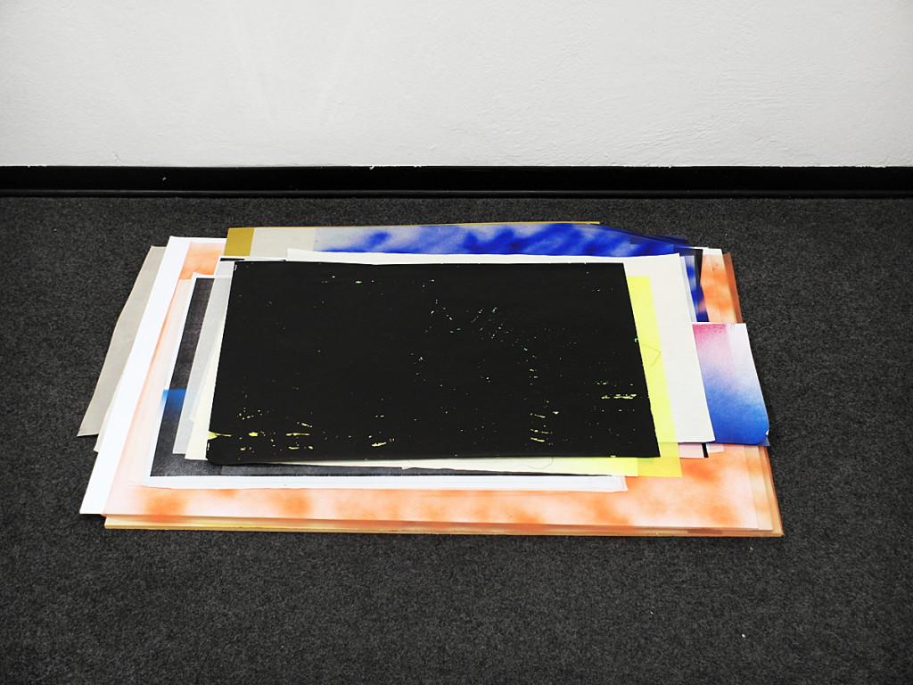cristiano tassinari, Fragile landscape, 2013, spray on paper, photographs, drawings, pvc, paper