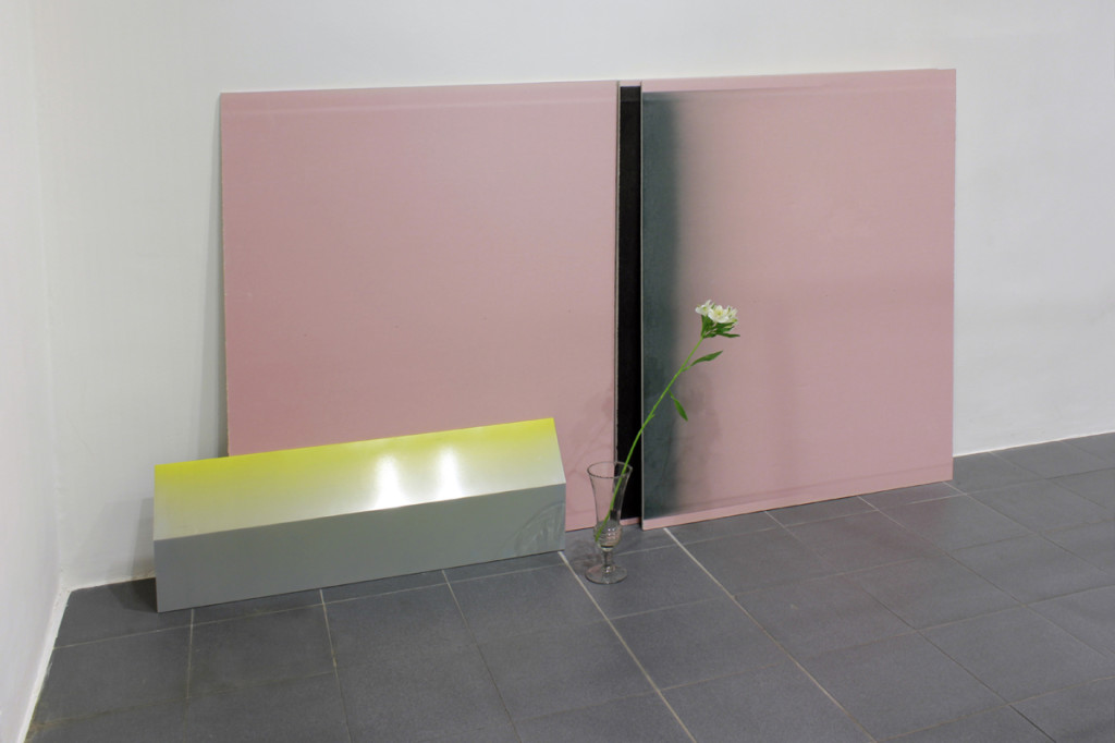 cristiano tassinari, To the end of surfaces, painted tin, painted plasterboard, flower, glass pot, 2013