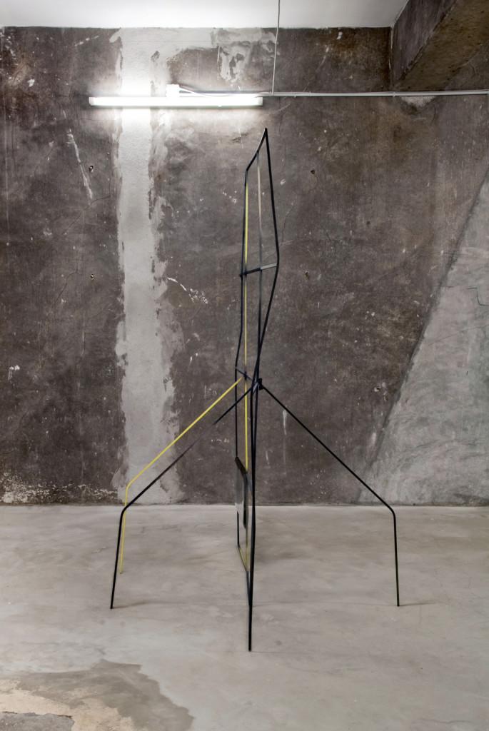 cristiano tassinari, grid, (gray), 2012, 350 x 300 cm, painted iron, spray on paper, pvc, photographs