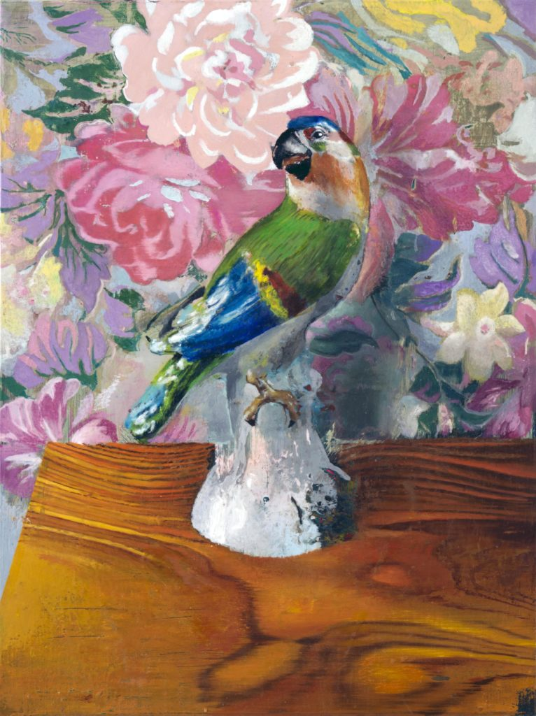 Blue Parrot Mothers bliss 80 x 60 oil on canvas aldini